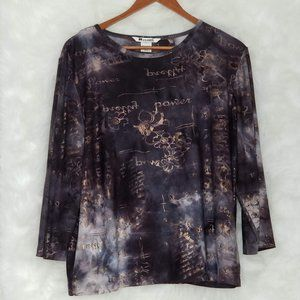 Nygard collection Women Top flowers and letters in color gold - Size XL (18-20)